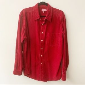 J. Crew Red Corduroy Long Sleeve Cotton Shirt Sz L